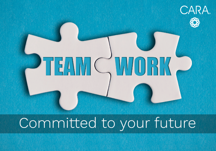 Image of teamwork puzzles with caption committed to your future